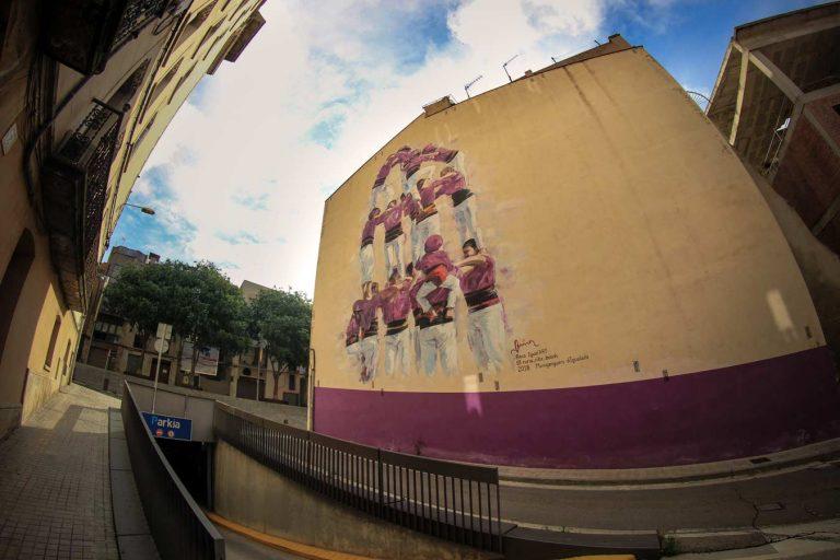 mural núria riba carrer sant faust igualada moixiganguers castellers